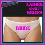 LADIES KNICKERS BRIEFS PERSONALISED BRIDE HEN PARTY NIGHT NOVELTY GIFT